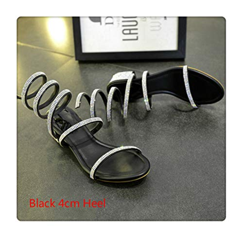 andals Women Summer Shoes Snake Strap Block Heels Open Toe Fashion Women Gladiator Sandals Boots Sexy Ladies Shoes Black 4cm Heel 10.5 ()