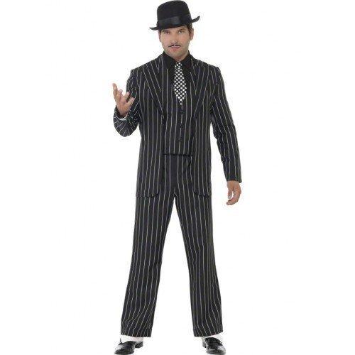Stück 1920s Jahre Vintage Gangster Bugsy Malone Great Gatsby Kostüm Kleid Outfit M-XL - Schwarz, X-Large / 46