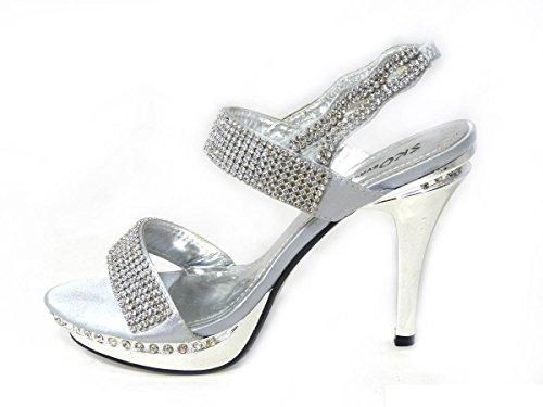 Sko's Sandales de soirée à talon haut à strass Tailles 36 37 38 39 40 41 Silver (8551-8)