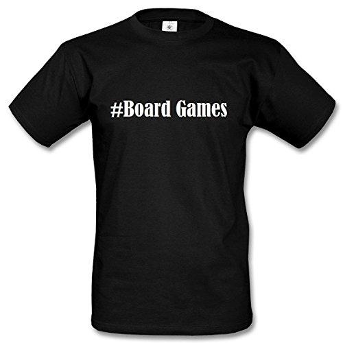 T-Shirt #Board Games Hashtag Raute für Damen Herren und Kinder ... in den Farben Schwarz und Weiss Schwarz