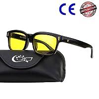 CGID CY84 Gafas para Protección contra Luz Azul, para Computadora, Lectura, Video Juegos, Protección de Fatiga Visual y contra Rayos UV,Rectángulo Vintage, Lentes Amarillos