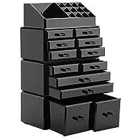 - Set quattro pezzi: 12 cassetti con sezioni superiori a 16 scomparti   - L'imbottitura rimovibile a rete nera protegge i gioielli   - Organizza i tuoi gioielli e cosmetici in uno posto   - L'organizzatore di trucco chiaro corrisponde a qualsiasi a...