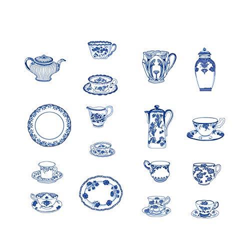 DecalMile Vinilos Cocina Pegatinas de Pared Juego de té de China Decorativos Adhesiva Pared Cocina Dormitorio Salón