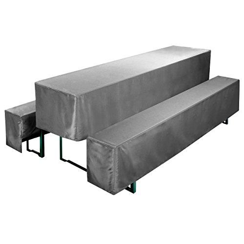 Gräfenstayn® Valentin Biertischhussen-Set 3 tlg für Bierzeltgarnitur – 70cm oder 50cm Tischbreite - mit Öko-Tex Standard 100 (50 x 220 cm, Anthrazit)
