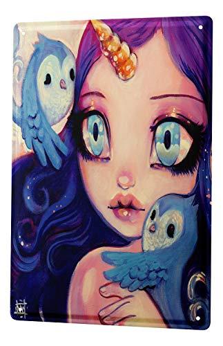Plaque émaillée Enseigne Affiche Gothic Fille manga