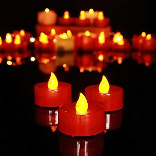 Kerzenlichter, Led Kerze Rote Muschel Kleine Tee Wachs Gelbes Licht Elektronische Kerze Rauchlose Blinkende Kerze 18 Stücke