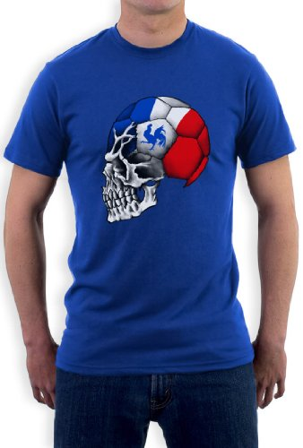 Frankreich Cooler Fanartikel Fußball EM 2016 Schädel T-Shirt Blau