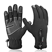Aisprts Cycling Gloves, Full Finger Winter Thermal Touch Screen Warm Windproof Waterproof Gloves for Men and Women (XL)