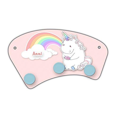 Regenbogen-holz-möbel (Wand-Garderobe mit Namen Anni und schönem Einhorn-Motiv mit Donut und Regenbogen für Mädchen   Garderobe für Kinder   Wandgarderobe)