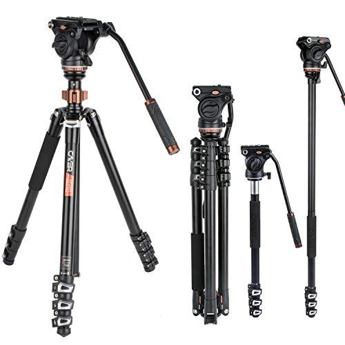 Professionelles Video-Stativ-Einbeinstativ-Kit, Cayer AF2451 67-Zoll-Aluminium-Teleskop-Flip-Lock-Stativ mit H4-Fluidkopf und Abnehmbarer Stativbasis für DSLR-Kameras und Camcorder - Kamera Camcorder