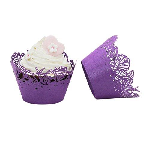 �rmchen,bunte Muffinförmchen aus Papier, Förmchen für Cupcakes, Muffins und Pudding 25 Stück (Lila) ()