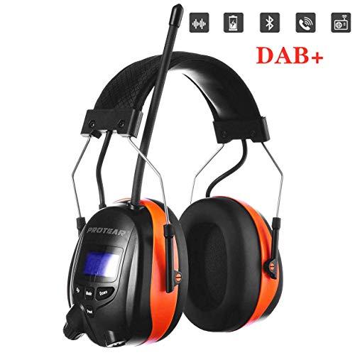 PROTEAR Gehörschutz mit Bluetooth/DAB/DAB + FM Radio, wiederaufladbare Gehörschutzkapsel mit Freisprechfunktion, für Industrie, BAU und Mähen Professionelle Lärmreduzierung, SNR 30dB (Orange)