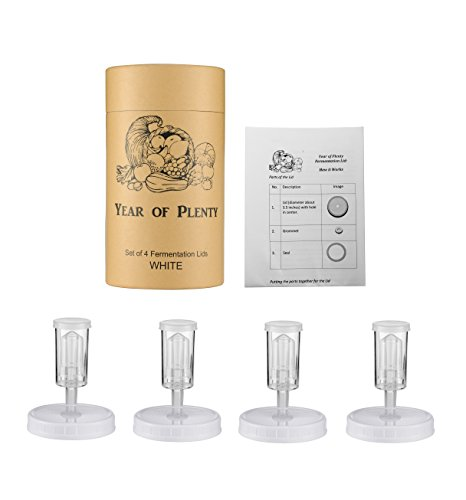 BPA-freie Gärungsdeckel für die Herstellung von Sauerkraut Year of Plenty in Weitem Mund Mason Gläser, 4er-Set, enthält Anweisungen und Rezept ... (Weiß)