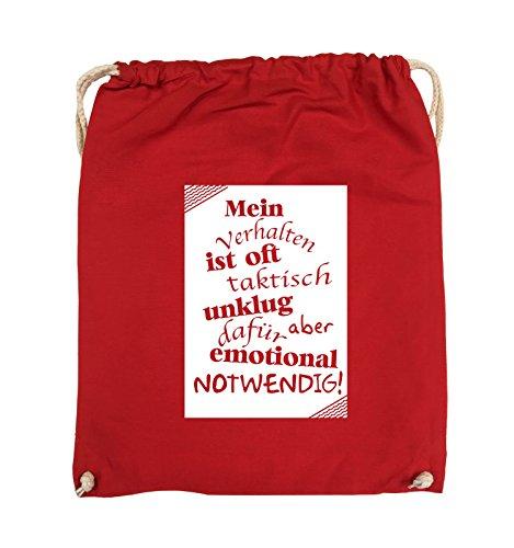 Comedy Bags - Mein Verhalten ist oft taktisch unklug - ZETTEL - Turnbeutel - 37x46cm - Farbe: Schwarz / Silber Rot / Weiss