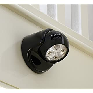 Auraglow Battery Operated Motion Activated PIR Sensor Removable Cordless LED Security Light (Black, Without Batteries)