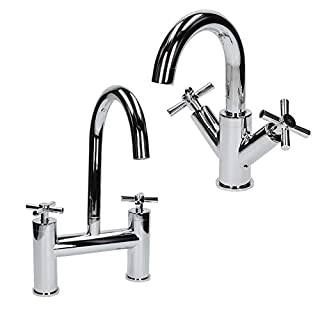 Architeckt Bathroom Mono Basin Sink Mixer Tap & Bath Mixer Tap Set Cross Head Handle Chrome