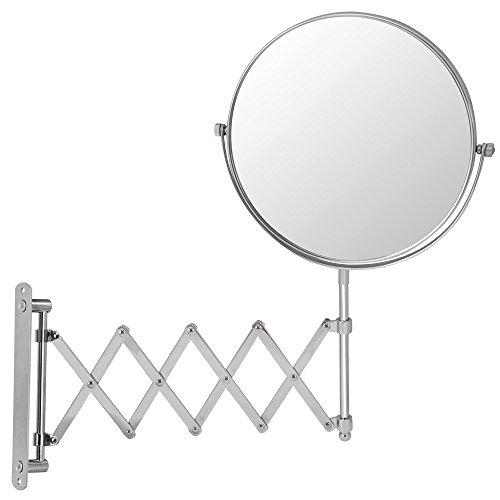 ngerung 9-40cm doppelseitigem Wand montiert klappbar Chrom ausziehbar Waschtisch Badezimmer Lupe Spiegel Spiegel und 3x Vergrößerung der Rückseite ()