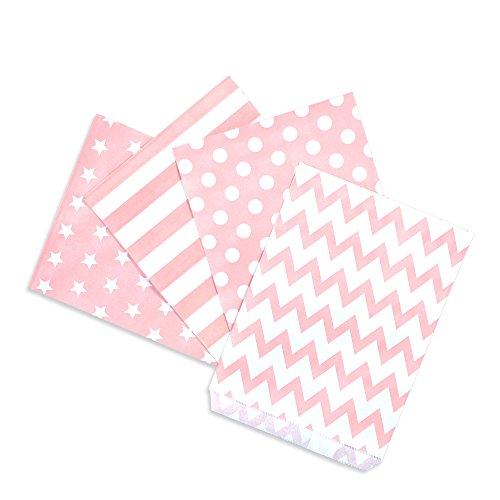 100 Papiertüten Mix rosa, 4 Designs zu je 25 Stück / Geschenktüten / Candy Paper Bags