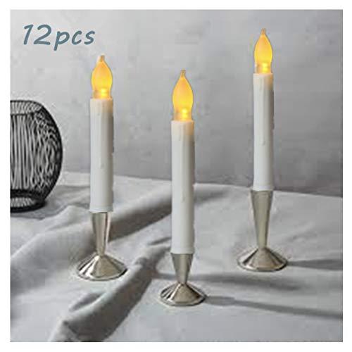 ose Spitzkerzen flackernd lange Kerze mit Timer für Hochzeit Urlaub Decke Kirchen Jahrestag Weihnachten batteriebetrieben Warm White for Christmas ()