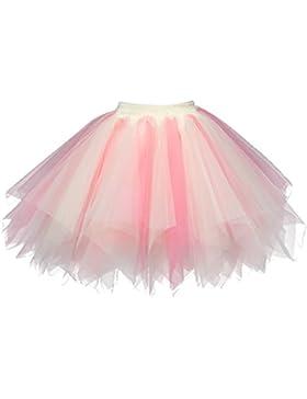 Feoya Mujer Falda Enaguas Corta Tul Plisada Fiesta Vintage Retro Ballet Princesas Tutú