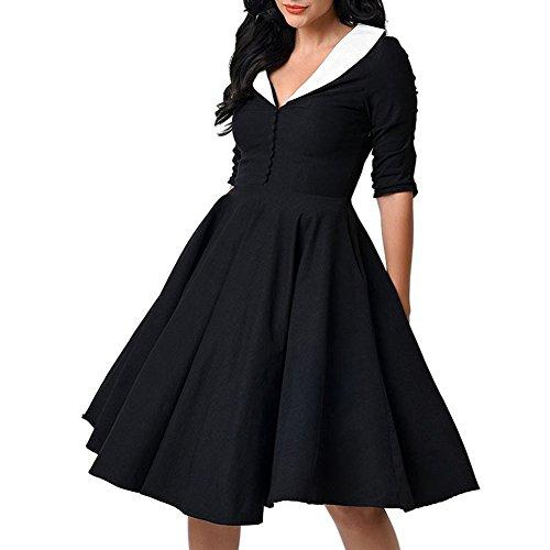 Femmes Rétro Vintage Année 1950 Style Audrey Hepburn Rockabilly Swing Robe Noir