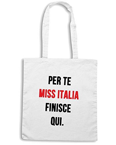 T-Shirtshock - Borsa Shopping TDM00211 per te miss italia finisce qui Bianco