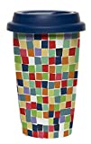 C.R. Gibson Iota Double Wall Porcelain Travel To-Go Cup, Mosaic, Multicolor