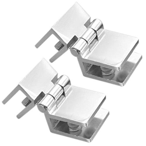 Uooom Lot de 2charnières de porte de salle de bain 90° Charnières en métal Clamp pour 5–8mm Porte en verre