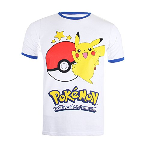 Pokmon-Pikachu-Ball-Camiseta-para-Hombre