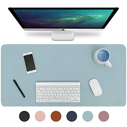 Knodel Tischunterlage, Schreibtischunterlage, 90 x 43cm PU-Leder Tischunterlage, Laptop Tischunterlage, wasserdichte Schreibunterlage für Büro- oder Heimbereich, doppelseitig (Hellblau / Silber)
