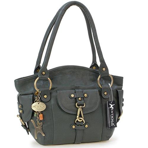 Lederhandtasche Karlie von Catwalk Collection - GRÖßE: B: 37 H: 25 T: 15 cm Grün
