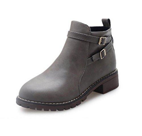 WZG Les nouvelles bottes Martin rugueux avec des chaussures imperméables bottes de boucle de ceinture de fermeture à glissière latérale chaussures de glissement nue gray