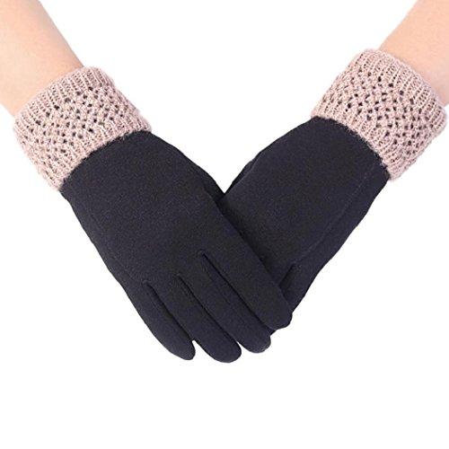 Koly Pantalla táctil de la manera deporte al aire libre guantes calientes del invierno de las mujeres (Negro)