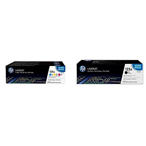 HP 125A 3er-Pack (CF373AM) Blau/Rot/Gelb Original Toner für HP Color Laserjet CP1215, CP1515, CM1312 & HP 125A 2er-Pack (CB540AD) Schwarz Original Toner für HP Color Laserjet CP1215, CP1515, CM1312 -
