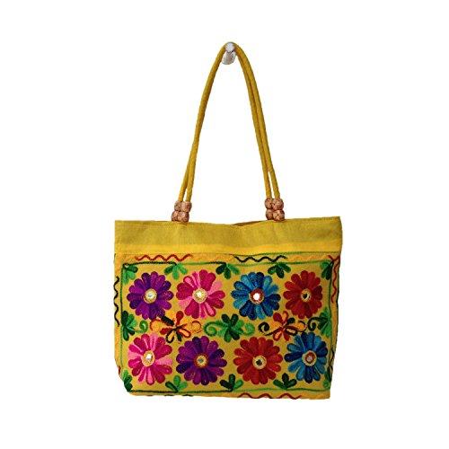 La mode épaule Polycoton floral brodé Phulkari College Sac