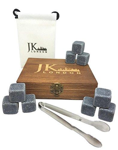 JK London pierres à whisky Cadeau Lot de 9 pierres de granit effrayante naturelles réutilisables Idéal pour Scotch ou vin de refroidissement avec élégante Boîte en bois de pin, pince en acier inoxydable et pochette en velours