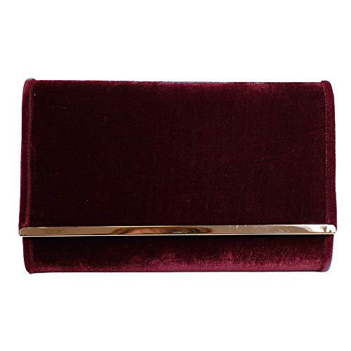 702d6773 Eferri Glamour, Bolso de fiesta noche detalles para Mujer, Rojo Burdeos,  27x17x6 cm