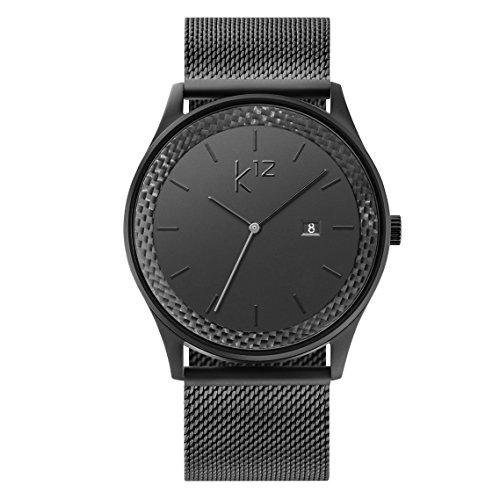 k12 Watch - Black Mesh - Carbon Uhr Herren Schwarz Carbon Black als edles Accessoire für den modernen Mann Carbon-armband Für Männer