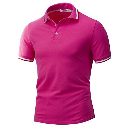 Herren Poloshirt Lässig Kurzarm Business T-Shirt Slim Fit Knopfhals Polohemd Rose
