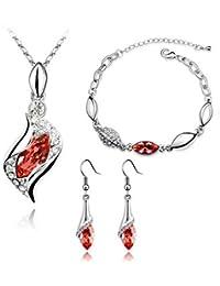 eaea3aa0a470 Scrox 3pcs Juego de Joyas Mujeres Plata Conjunto Joyería Collar Cristales  Angel Elf Colgante Rhinestone Pulsera