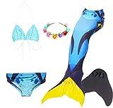LCXYYY Mädchen Meerjungfrauenschwanz Bikini Set Zum Schwimmen mit Meerjungfrau Flosse Badeanzüge Prinzessin Cosplay Kostüm Schwimmanzug für Kinder Bademode Tankini Bikini Monoflosse Blumenkranz 5pcs
