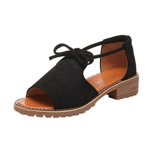 SANFASHION Große Förderung Damen schnüren Sich Oben Keil Espadrilles Sommer Chunky Urlaub Sandalen Schuhe