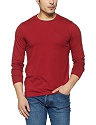 Monte Carlo Mens Solid Regular Fit T-Shirt (217039917-7_Red_42)
