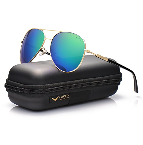 7b04363852 LUENX Aviator Mens Sunglasses Polarized Mirrored Womens with Case - UV 400  Protection Green Lens Gold Frame 60mm - Buy Online in Oman.
