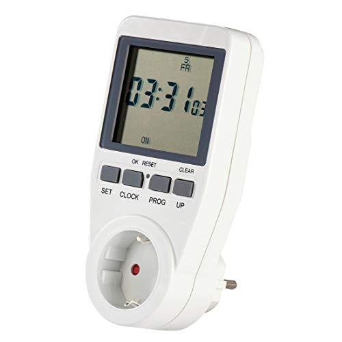 Hama Digitale Zeitschaltuhr (Kindersicherung, Zufallsfunktion, Sommer-/Winterzeit, extra großes Display, unbeleuchtet, max. 3680W) weiß