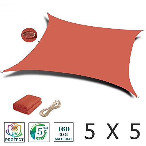 Love story tenda d'ombra rettangolare 5 x 5 m, tenda impermeabile indicata per esterni, cortili, giardini, colore terra