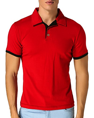 MODCHOK Herren T-Shirt Shirt Kurzarmshirt Poloshirt Polohemden Knopfleiste Slim Fit Rot X-Large