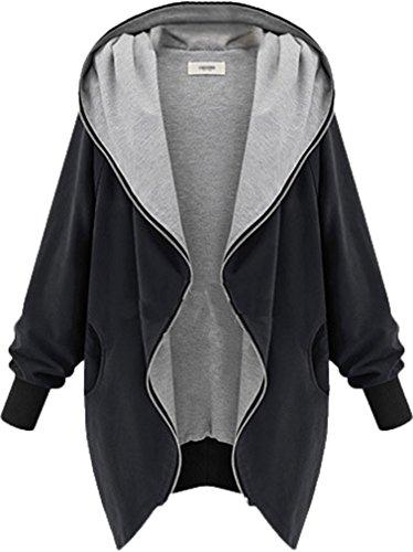 ADS Damen Mantel, Einfarbig Schwarz Schwarz XXXXX-Large