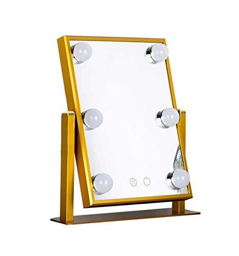 HAMIMI Kosmetikspiegel Beleuchtungsset mit 6 dimmbaren Glühbirnen Kosmetische Kommode mit LED-Lampen Hollywood Style Makeup Mirror LED-Leuchten Wandschminkspiegel (Color : Gold) -