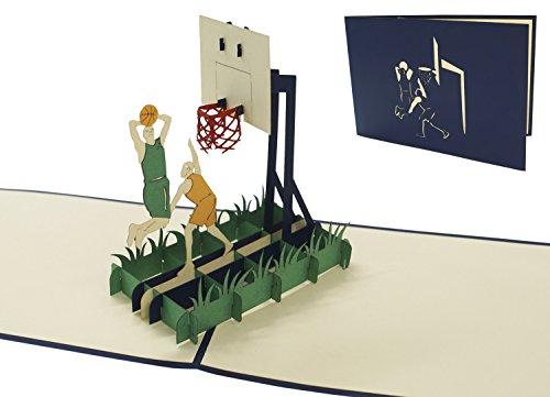 LIN17496, POP- UP Karten Sport, POP UP Karten Geburtstag, 3D Grußkarten Geburtstagskarten 3D Karte Klappkarte Basketball, N269